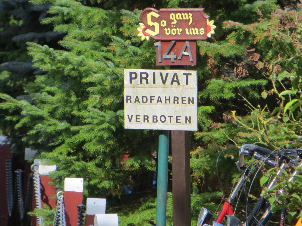 privat radfahren verboten